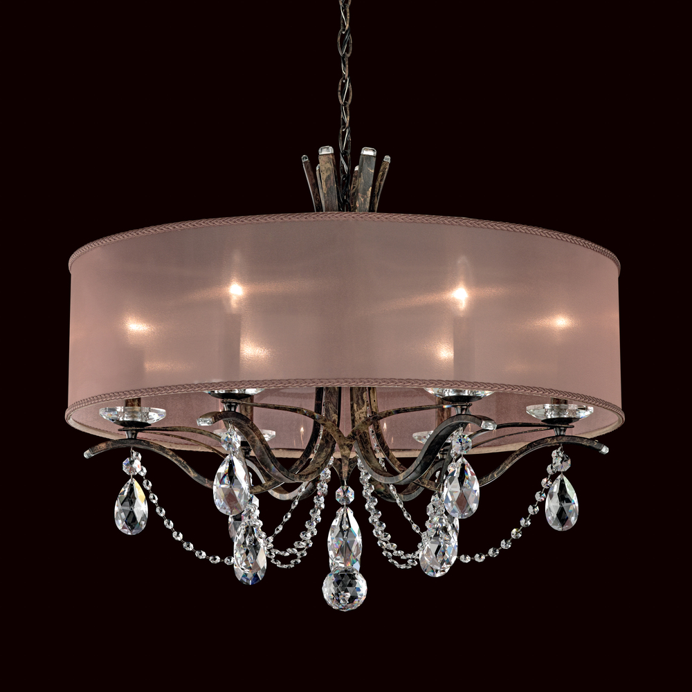 Vesca 6 light 110v chandelier in french gold with clear heritage vesca 6 light 110v chandelier in french gold with clear heritage crystal and shade hardback gold arubaitofo Images