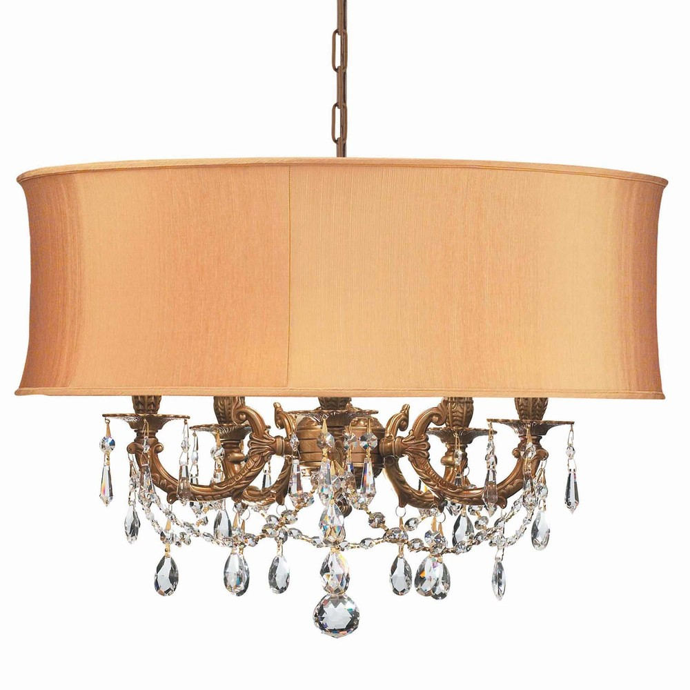 Crystorama Gramercy 5 Light Brass Gold Drum Shade Mini Chandelier